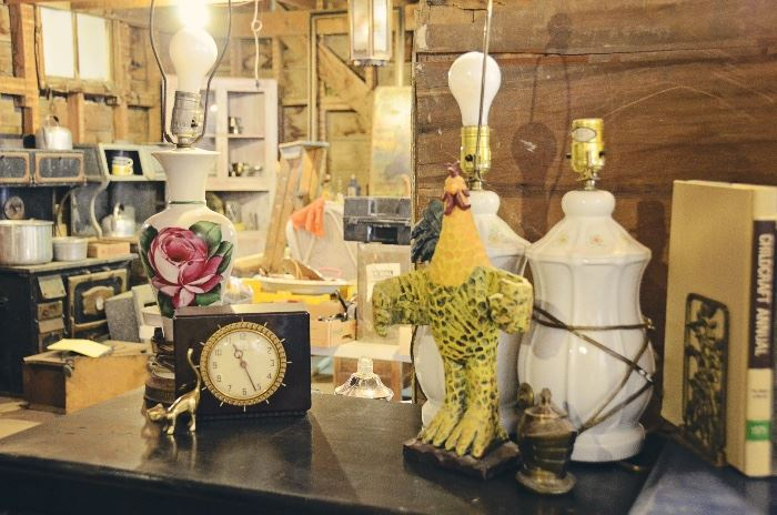 Lamps, Clocks, Rooster