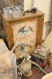 Almanac Clock, Vintage Meat Grinder, Tins