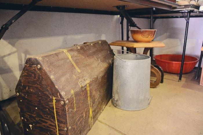 Wooden Tool Box, Pyrex Bowls, Metal Pail
