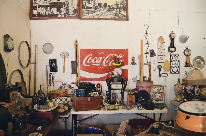 Enjoy Coca-Cola Metal Sign, Wooden Tool Box, Vintage Food Scale, Milk Bottles, Rapid Washer Clothing Plungers, Hay Bale/Ice Hooks
