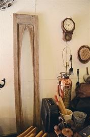 Architectural Window Frame, Badger Copper Fire Extinguisher Lamp, Rolling Pins, Doctor Bag, Pipes, Humidor Tobacco Jar