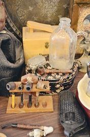 Milk Bottle, Tobacco Pipes, Gun Holster, Tins, Shoe Shining Kit