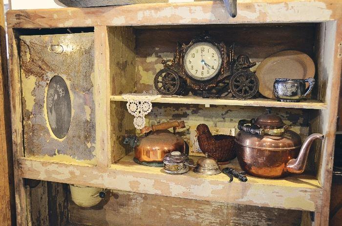 Antique Hoosier Cabinet Top with Flour Sifter, Copper Tea Kettles, Clock