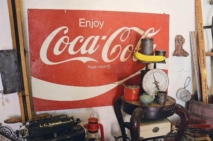 Enjoy Coca-Cola Metal Sign, Vintage Food Scale, Stool, Tins, Cast Iron Clawfoot, Jewelry Box, Barrel, Meter Sticks, Antique Bean Planter, Lantern, L.C. Smith Typewrite no. 8