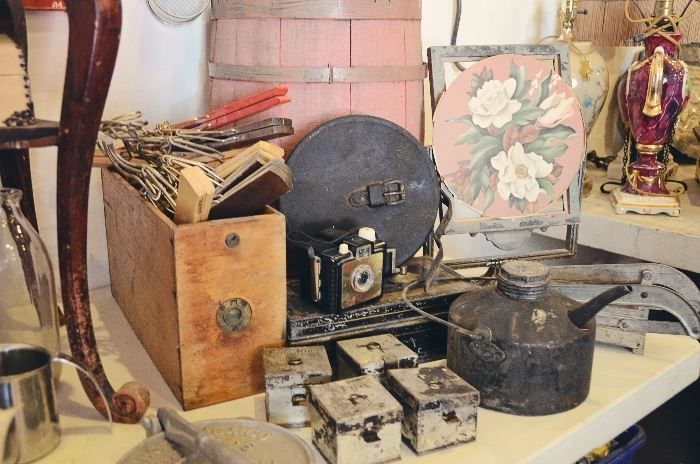Wooden Drawers, Metal Spice Tins, Gasoline Can, Potato Fry Press, Wooden Hangers, Barrel, Antique Standing Frame