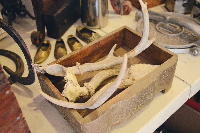 Antlers, Wooden Drawer, Tortilla Press, Brass Shoes