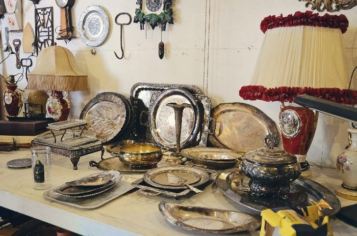 Silver-Plated Platters and Collectibles, Table Lamps, Hay Bale/Ice Hook, Cuckoo Clock