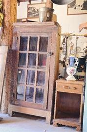 Primitive Dentist's Medicine Cabinets, Metal Farmhouse Lights, Table Lamp, End Table, Spittoon