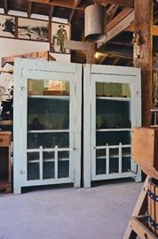 Primitive Dentist's Medicine Cabinets, Metal Farmhouse Light