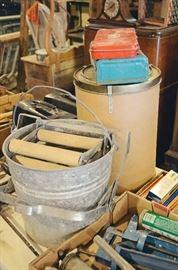 Vintage Mop Wringer in Metal Pail, Tools