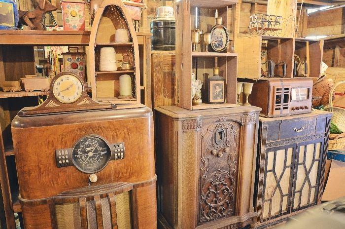 Antique Radio Cabinets, Fruit Crates, Clocks, Twine