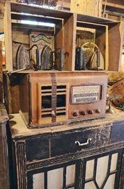 Fruit Crate, Sad Irons, Radio Cabinet, Vintage Radio