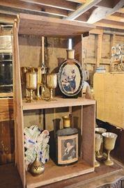 Fruit Crate, Brass Goblets, Vintage Alcohol Bottles