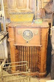 Radio Cabinet, Magazine Rack, Oil Lamp, Metal Basket
