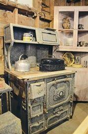 Enamel Stove, Cast Aluminum Tea Kettle, Enamel Roaster, Corner Cabinet