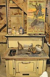 Enamel Stove, Print, Irons, Vintage Alcohol Bottles