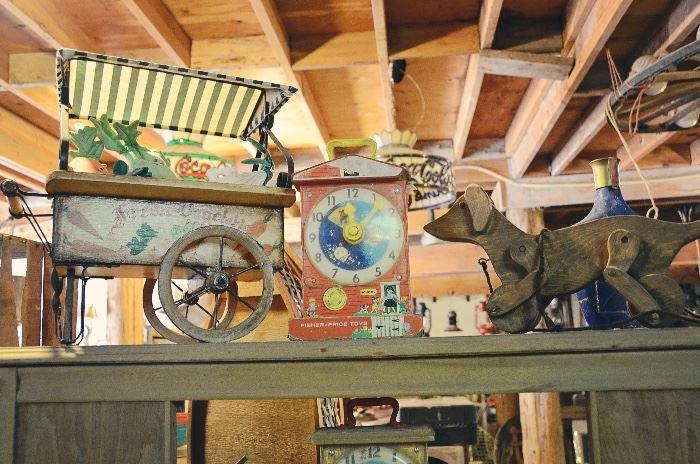 Wooden Pull Dog Toy, Fisher Price Clock, Veggie Cart