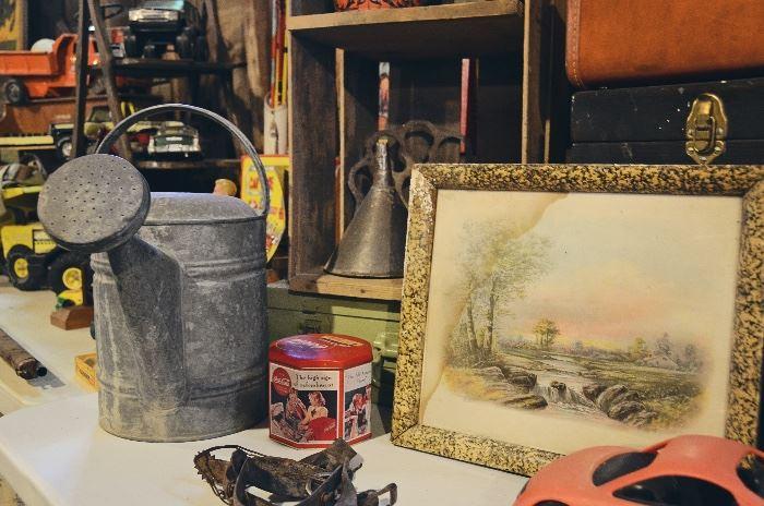 Metal Watering Can, Tins, Fruit Crate, Metal Funnels