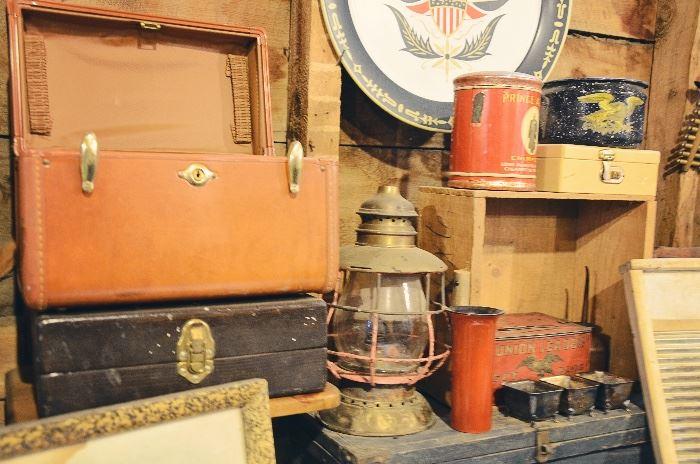 Vanity Suitcases, Lantern, Tins, Washboard