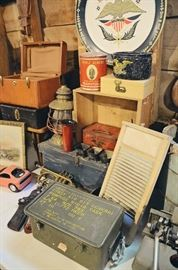 Vanity Suitcases, Lantern, Tins, Washboard, Metal Military Ammunition Case, Fruit Crate