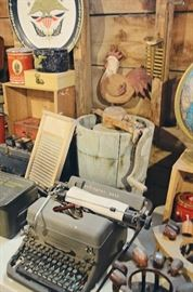 Remington Rand Typewriter, Antique Ice Cream Churn, Metal Military Ammunition Cases, Globe