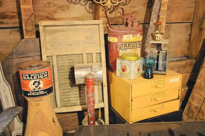 Tins, Washboard, Metal Tool Shelves, Metal Gas Can