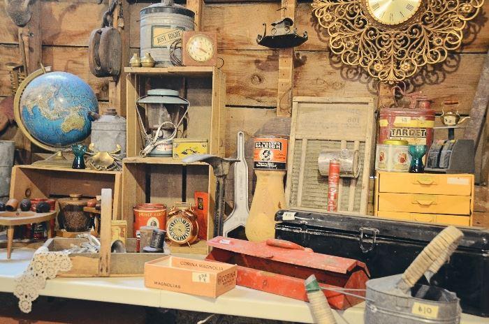 Fruit Crate, Metal Gas Can, Tins, Alarm Clock, Lantern, Tins, Washboard, Metal Tool Shelves, Metal Gas Can, Globe