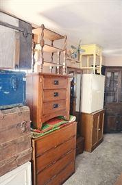 Trunks, End Tables, Mid-Century Dresser and Bed Set, Vintage Cabinets