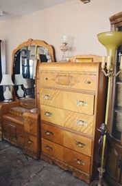 Vintage Inlay Dresser and Vanity with Bed Set (Bed not pictured)