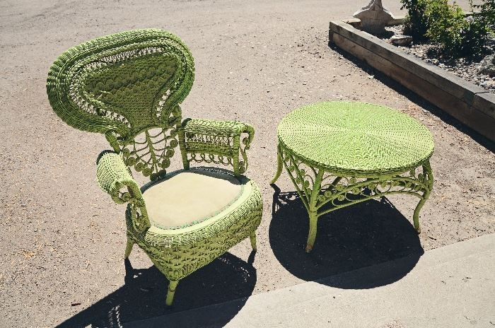 Green Wicker Table and Chair