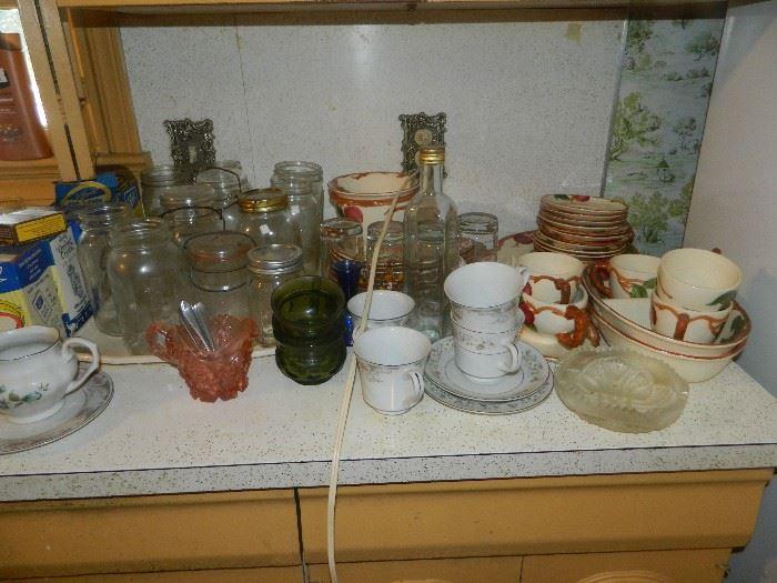Vintage glass jars, lids, dishes