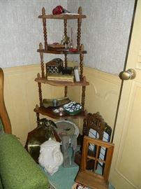 Vintage shelf, collectibles, etc.