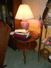 Vintage round table, lamp, books, rocker