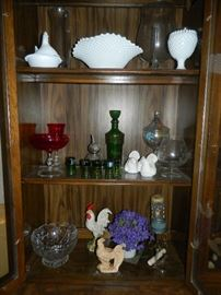 Glass ware, collectibles, hobnail glass in china cabinet