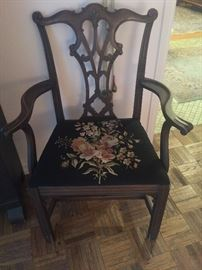 Chippendale arm chair with needlepoint seat