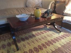 Antique leather top Duncan Phyfe style coffee table Circa 1930's