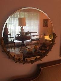 Antique Round beveled mirror