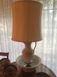 Antique bowl/pitcher lamp