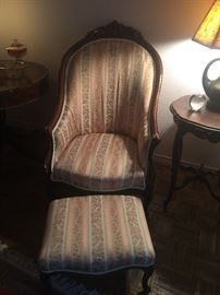 Antique chair with ottoman
