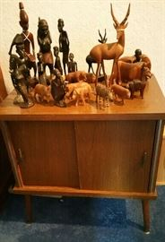 Record cabinet and carved African art
