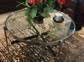 Glass & chrome coffe & end tables with leather strap detail