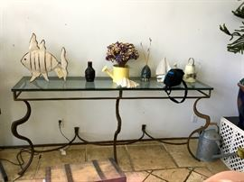 Iron & glass console table