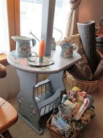 lamp table with magazine rack stenciled