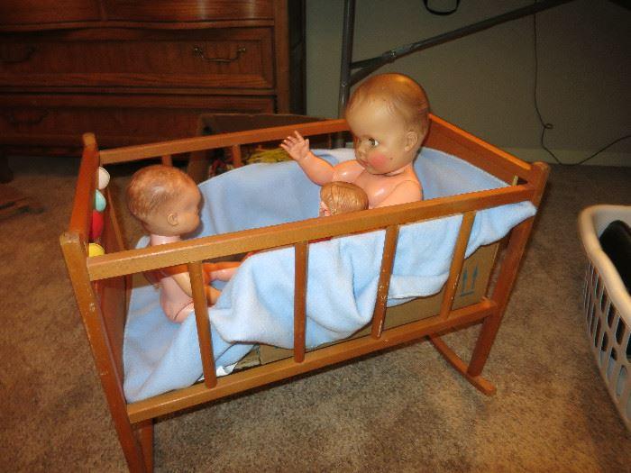 Vintage Wooden Rocking Crib, Dolls