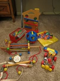 Vintage Wood Crib and Baby Toys