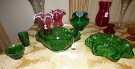Fenton cranberry white crest vases, button & bows green glass