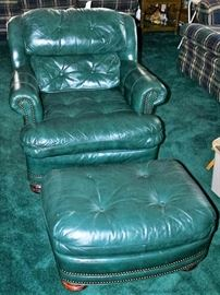 Leather Easy Chair & Ottoman