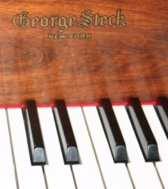 """George Steck """"New York"""" Baby Grand Piano w/Bench French Provincial Style w/Cherry Stain Serial # 5910"""