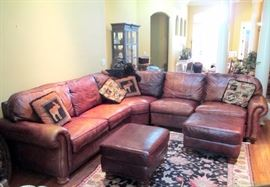 Brown leather sectional sofa by Thomasville            SOLD FOR $1200.-