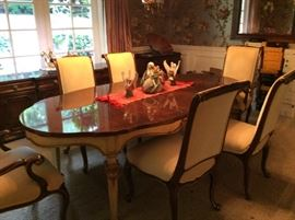 Banquet size Karges dining table and eight chairs, mint condition